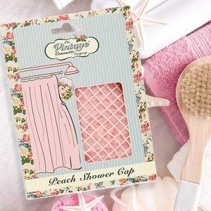 Peach Pink Polka Dot Vintage Company Shower Cap